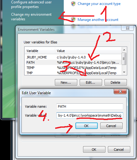 how to change path in windows